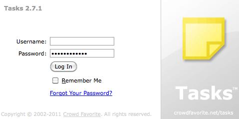 Crowd Favourite Tasks log-in screen