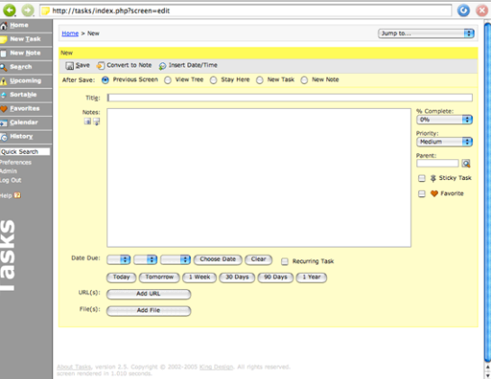 Tasks - New Task screenshot