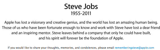 Apple Obituary for Steve Jobs