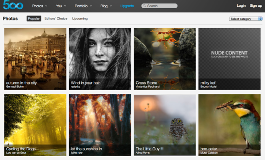 500px Home Page