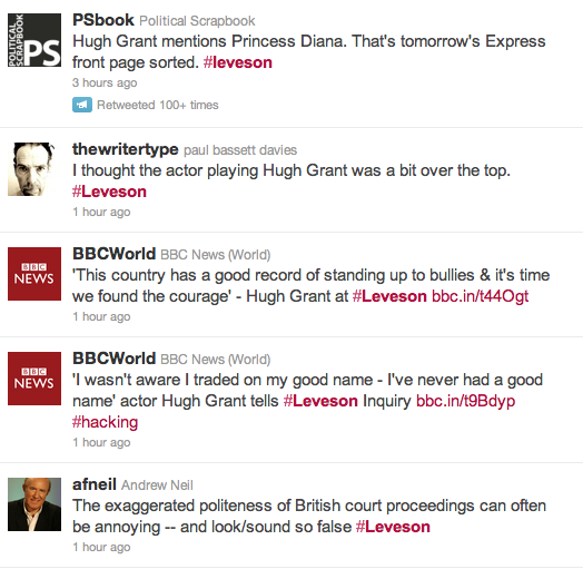 Twitter Leveson search results