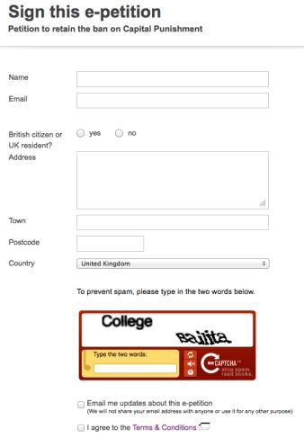 HM Government e-Petition Site - Signatory form