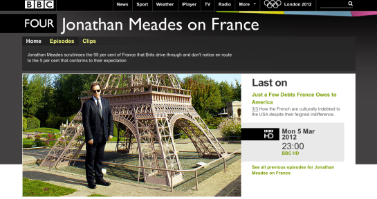 Jonathan Meades on France BBC 4 Web page image